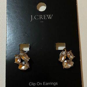 J. Crew Clip-On Crystal Trio Earrings